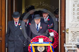 Remembrance Sunday at the Cenotaph 2015: Leading members of the Royal British Legion and other charities, on the left their president, Vice Admiral Peter Wilkinson, leaving the Foreign- and Commonwealth Office. Image #62, 08 November 2015 10:40 Whitehall, London, UK
