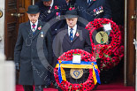 Remembrance Sunday at the Cenotaph 2015: Leading members of the Royal British Legion and other charities, on the left TRBL president, Vice Admiral Peter Wilkinson, leaving the Foreign- and Commonwealth Office. Image #63, 08 November 2015 10:40 Whitehall, London, UK