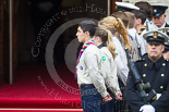 Remembrance Sunday at the Cenotaph 2015: The Queen's Scouts lining the steps of the Foreign and Commonwealth Office. Image #70, 08 November 2015 10:47 Whitehall, London, UK