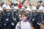 Remembrance Sunday at the Cenotaph 2015: The choir is led by the Cross Bearer, Jason Panagiotopoulos. Image #78, 08 November 2015 10:54 Whitehall, London, UK
