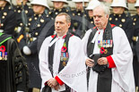 Remembrance Sunday at the Cenotaph 2015: The Chaplain-in-Chief of the RAF, The Venerable (Air Vice Marshal) Jonathan Chaffey QHC RAF and the Sub-Dean of Her Majesty's Chapels Royal, the Reverend Canon Paul Wright. Image #84, 08 November 2015 10:54 Whitehall, London, UK
