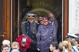 Remembrance Sunday at the Cenotaph 2015: Senior military personell leaving the Foreign- and Commonwealth Office, in front the First Sea Lord, Admiral  Sir  George  Zambellas, and the Chief of the Defence Staff, General  Sir  Nicholas  Houghton. Image #90, 08 November 2015 10:55 Whitehall, London, UK