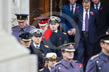 Remembrance Sunday at the Cenotaph 2015: The equerries, carrying the wreaths, leaving tge Foreign- and Commonwealth Office. Image #136, 08 November 2015 10:59 Whitehall, London, UK