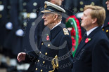 Remembrance Sunday at the Cenotaph 2015: HM The Duke of Edinburgh standing next to  HM The King of the Netherlands, Willem-Alexander, at the Cenotaph on Remembrance Sunday 2015. Image #140, 08 November 2015 10:59 Whitehall, London, UK