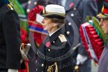 Remembrance Sunday at the Cenotaph 2015: HRH The Princess Royal (Princess Anne), in the uniform of an Admiral in the Royal Navy, standing at the Cenotaph. Image #142, 08 November 2015 10:59 Whitehall, London, UK