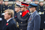 Remembrance Sunday at the Cenotaph 2015: HRH Prince Henry of Wales during the Cenotaph ceremony 2015. Prince Harry is wearing the uniform of  a Captain in the Blues and Royals Household Cavelry Regiment. To his left is Prince William, to his right the Duke of York. Image #145, 08 November 2015 10:59 Whitehall, London, UK