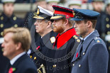 Remembrance Sunday at the Cenotaph 2015: HRH Prince Henry of Wales during the Cenotaph ceremony 2015. Prince Harry is wearing the uniform of  a Captain in the Blues and Royals Household Cavelry Regiment. To his left is Prince William, to his right the Duke of York. Image #146, 08 November 2015 10:59 Whitehall, London, UK