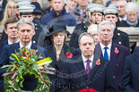 Remembrance Sunday at the Cenotaph 2015: In focus in the second row The Rt Hon Greg Clark MP (Secretary of State for Communities and Local Government), The Rt Hon Theresa May MP (Secretary of State for the Home Department), and The Rt Hon Michael Fallon MP (Secretary of State for Defence). Image #153, 08 November 2015 11:02 Whitehall, London, UK