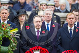 Remembrance Sunday at the Cenotaph 2015: The Secretary of State for Foreign and Commonwealth Affairs, Philip Hammond, the Westminster Democratic Unionist Party Leader, Nigel Dodds, and The Leader of the Liberal Democrats, Tim Fallon. Image #154, 08 November 2015 11:02 Whitehall, London, UK