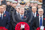 Remembrance Sunday at the Cenotaph 2015: The Leader of the Liberal Democrats, Tim Fallon, the Westminster Leader of the Scottish National Party, Angus Robertson, and the Leader of the Opposition, Jeremy Corbyn. Behind them the Chancellor of the Exchequer, George Osborne, and former prime ministers Gordon Brown and  Tony Blair. Image #156, 08 November 2015 11:02 Whitehall, London, UK