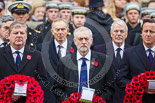 Remembrance Sunday at the Cenotaph 2015: The Westminster Leader of the Scottish National Party, Angus Robertson, the Leader of the Opposition, Jeremy Corbyn, and the Prime Minister, David Cameron. Behind them former prime ministers Gordon Brown,  Tony Blair and John Major. Image #157, 08 November 2015 11:02 Whitehall, London, UK