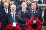 Remembrance Sunday at the Cenotaph 2015: The Leader of the Opposition, Jeremy Corbyn, and the Prime Minister, David Cameron. Behind them former prime ministers Tony Blair and John Major. Image #158, 08 November 2015 11:02 Whitehall, London, UK