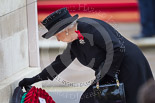 Remembrance Sunday at the Cenotaph 2015: HM The Queen at the Cenotaph, laying her wreath. Image #177, 08 November 2015 11:03 Whitehall, London, UK