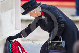 Remembrance Sunday at the Cenotaph 2015: HM The Queen at the Cenotaph, laying her wreath. Image #178, 08 November 2015 11:03 Whitehall, London, UK