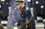 Remembrance Sunday at the Cenotaph 2015: HM The Duke of Edinburgh walking towards the Cenotaph with his wreath. Image #184, 08 November 2015 11:04 Whitehall, London, UK