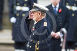Remembrance Sunday at the Cenotaph 2015: HM The Duke of Edinburgh at the Cenotaph, saluting after laying his wreath. Image #188, 08 November 2015 11:04 Whitehall, London, UK