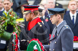 Remembrance Sunday at the Cenotaph 2015: HRH The Duke of Cambridge, HRH Prince Harry, and HRH The Duke of York walking with their wreaths towards the Cenotaph. Image #191, 08 November 2015 11:05 Whitehall, London, UK