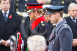 Remembrance Sunday at the Cenotaph 2015: HRH The Duke of Cambridge, HRH Prince Harry, and HRH The Duke of York walking with their wreaths towards the Cenotaph. Image #192, 08 November 2015 11:05 Whitehall, London, UK