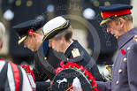 Remembrance Sunday at the Cenotaph 2015: HRH The Duke of Kent, HRH The Princess Royal, and HRH The Earl of Wessex laying their wreaths at the Cenotaph. Image #200, 08 November 2015 11:05 Whitehall, London, UK