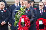 Remembrance Sunday at the Cenotaph 2015: The Prime Minister, David Cameron, walking with his wreath toward the Cenotaph. Image #203, 08 November 2015 11:06 Whitehall, London, UK