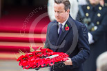 Remembrance Sunday at the Cenotaph 2015: The Prime Minister, David Cameron, about to lay his wreath at the Cenotaph. Image #205, 08 November 2015 11:06 Whitehall, London, UK