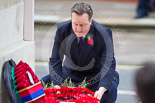 Remembrance Sunday at the Cenotaph 2015: The Prime Minister, David Cameron, laying his wreath at the Cenotaph. Image #206, 08 November 2015 11:06 Whitehall, London, UK