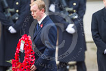 Remembrance Sunday at the Cenotaph 2015: The Leader of the Liberal Democrats, Tim Fallon, walking towards the Cenotaph with his wreath. Image #217, 08 November 2015 11:07 Whitehall, London, UK