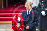 Remembrance Sunday at the Cenotaph 2015: The Leader of the Liberal Democrats, Tim Fallon, about to lay his wreath at the Cenotaph. Image #218, 08 November 2015 11:07 Whitehall, London, UK