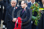 Remembrance Sunday at the Cenotaph 2015: The Westminster Democratic Unionist Party Leader, Nigel Dodds, walking towards the Cenotaph with his wreath. Image #219, 08 November 2015 11:07 Whitehall, London, UK