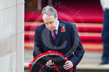 Remembrance Sunday at the Cenotaph 2015: The Westminster Democratic Unionist Party Leader, Nigel Dodds, about to lay his wreath at the Cenotaph. Image #220, 08 November 2015 11:08 Whitehall, London, UK