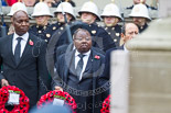 Remembrance Sunday at the Cenotaph 2015: The High Commissioner of Tanzania, the Deputy High Commissioner of Sierra Leone, and the High Commissioner of Cyprus with their wreaths at the Cenotaph. Image #224, 08 November 2015 11:09 Whitehall, London, UK