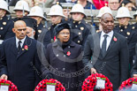 Remembrance Sunday at the Cenotaph 2015: The Acting High Commissioner of Trinidad and Tobago, the Minister Counsellor of Jamaica, and the High Commissioner of Tanzania with their wreaths at the Cenotaph. Image #225, 08 November 2015 11:09 Whitehall, London, UK