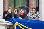Remembrance Sunday at the Cenotaph 2015: Guests watching the ceremony from one of the balconies of the Foreign- and Commonwealth Office. Image #262, 08 November 2015 11:12 Whitehall, London, UK