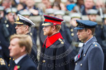 Remembrance Sunday at the Cenotaph 2015: HRH HRH Prince Henry of Wales (Prince Harry) in the uniform of a Captain in the Blues and Royals Household Cavelry Regiment. Next to him HRH The Duke of York and HRH The Duke of Cambridge, in front HM The King of the Netherlands. Image #269, 08 November 2015 11:12 Whitehall, London, UK