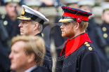 Remembrance Sunday at the Cenotaph 2015: HRH HRH Prince Henry of Wales (Prince Harry) in the uniform of a Captain in the Blues and Royals Household Cavelry Regiment. Next to him HRH The Duke of York, in front HM The King of the Netherlands. Image #270, 08 November 2015 11:12 Whitehall, London, UK