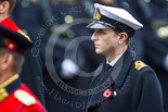 Remembrance Sunday at the Cenotaph 2015: Lieutenant Commander James Benbow, Royal Navy, equerry to Prince William. Image #281, 08 November 2015 11:14 Whitehall, London, UK