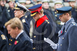 Remembrance Sunday at the Cenotaph 2015: Prince Harry (HRH Prince Henry of Wales) during the service at the Cenotaph. To his right HRH The Duke of York, to his left HRH The Duke of Cambridge. Image #288, 08 November 2015 11:14 Whitehall, London, UK