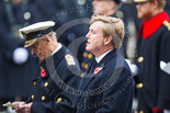 Remembrance Sunday at the Cenotaph 2015: HM The King of the Netherlands during the service at the Cenotaph, behind him HRH The Duke of Edinburgh. Image #289, 08 November 2015 11:14 Whitehall, London, UK