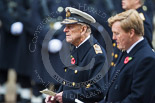 Remembrance Sunday at the Cenotaph 2015: HRH The Duke of Edinburgh during the service at the Cenotaph, in front HM The King of the Netherlands. Image #290, 08 November 2015 11:14 Whitehall, London, UK