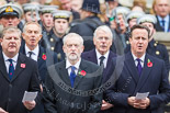 Remembrance Sunday at the Cenotaph 2015: The politicians during the service at the Cenotaph: The Westminster Leader of the Scottish National Party, Angus Robertson, the Leader of the Opposition, Jeremy Corbyn, and the Prime Minister, David Cameron. Behind them former prime ministers Gordon Brown, Tony Blair and John Major. Image #291, 08 November 2015 11:14 Whitehall, London, UK