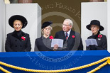 Remembrance Sunday at the Cenotaph 2015: HRH Princess Michael of Kent, THR The Duchess and Duke of Gloucester, and HRH Princess Alexandra, the Hon. Lady Ogilvy,  on the centre balcony of the Foreign- and Commonwealth Office building during the service. Image #292, 08 November 2015 11:15 Whitehall, London, UK