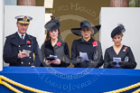 Remembrance Sunday at the Cenotaph 2015: Vice Admiral Sir Tim Laurence, the husband of the Princess Royal, HRH The Duchess of Cambridge, HM The Queen (Máxima) of the Netherlands, and HRH The Countess of Wessex on the balcony of the Foreign- and Commonwealth Office during the service. Image #294, 08 November 2015 11:15 Whitehall, London, UK