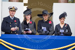 Remembrance Sunday at the Cenotaph 2015: Vice Admiral Sir Tim Laurence, the husband of the Princess Royal, HRH The Duchess of Cambridge, HM The Queen (Máxima) of the Netherlands, and HRH The Countess of Wessex on the balcony of the Foreign- and Commonwealth Office during the service. Image #295, 08 November 2015 11:15 Whitehall, London, UK