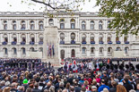 Remembrance Sunday at the Cenotaph 2015: Wide angle view of the Cenotaph ceremony from the press stand opposite the Foreign- and Commonwealth Office. Image #296, 08 November 2015 11:16 Whitehall, London, UK