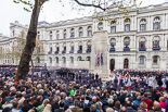 Remembrance Sunday at the Cenotaph 2015: Wide angle view of the Cenotaph ceremony from the press stand opposite the Foreign- and Commonwealth Office. Image #297, 08 November 2015 11:16 Whitehall, London, UK