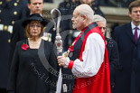 Remembrance Sunday at the Cenotaph 2015: The Dean of HM Chapels Royal and the Lord Bishop of London, The Rt Revd. & the Rt Hon Dr Richard Chartres, on the way back to the Foreign- and Commonwealth Office. Image #320, 08 November 2015 11:21 Whitehall, London, UK
