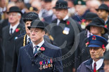 Remembrance Sunday at the Cenotaph 2015: Gary Best, Station Supervisor on the Underground, representing TFL, and Eric Reeve, who will lay a wreath on behalf of Transport for London. Image #328, 08 November 2015 11:23 Whitehall, London, UK