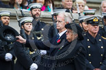 Remembrance Sunday at the Cenotaph 2015: The Royal British Legion Women's Section National Chairman Mrs Marilyn Humphry, on the way back to the Foreign- and Commonwealth Office. Image #346, 08 November 2015 11:27 Whitehall, London, UK