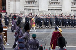 Remembrance Sunday at the Cenotaph 2015: The Massed Bands reposition to make room for the March Past. Image #349, 08 November 2015 11:29 Whitehall, London, UK