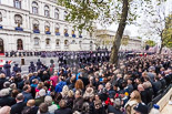 Remembrance Sunday at the Cenotaph 2015: The Massed Bands reposition to make room for the March Past.This wide angle shot shows the number of spectators at Whitehall. Image #350, 08 November 2015 11:29 Whitehall, London, UK